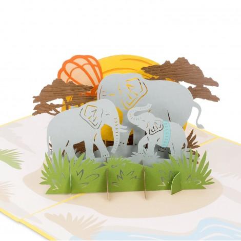 Elephant Family Pop Up Card