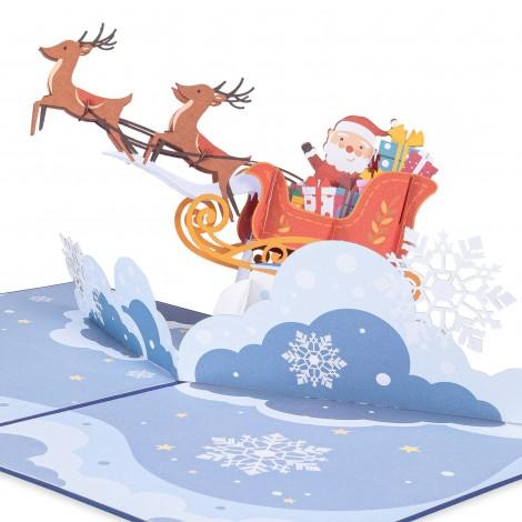 Santa Sleigh Pop Up Christmas Card