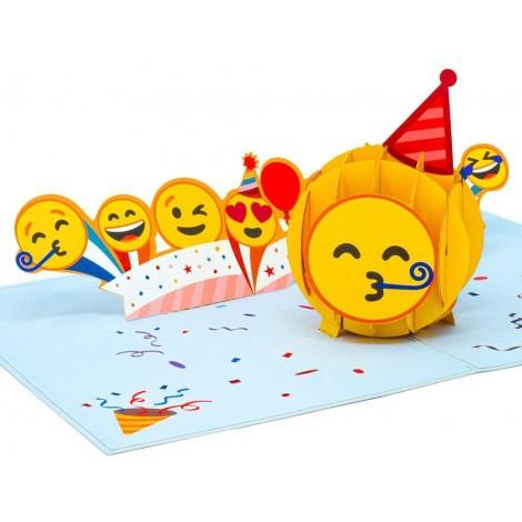 Partying Emoji Pop Up Birthday Card