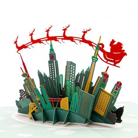 Skyline Santa Sleigh Pop Up Christmas Card