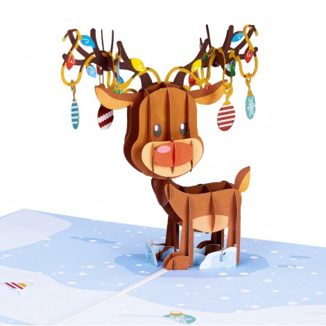 Reindeer Ornament Pop Up Christmas Card…